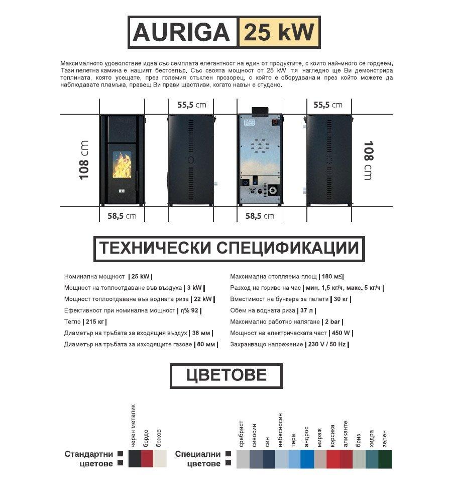 ПЕЛЕТНИ КАМИНИ -AURIGA 25 kw