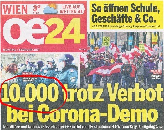 """""""Свободната"""" австрийска преса се обърка на два пъти в броя на протестиращите във Виена в неделя"""