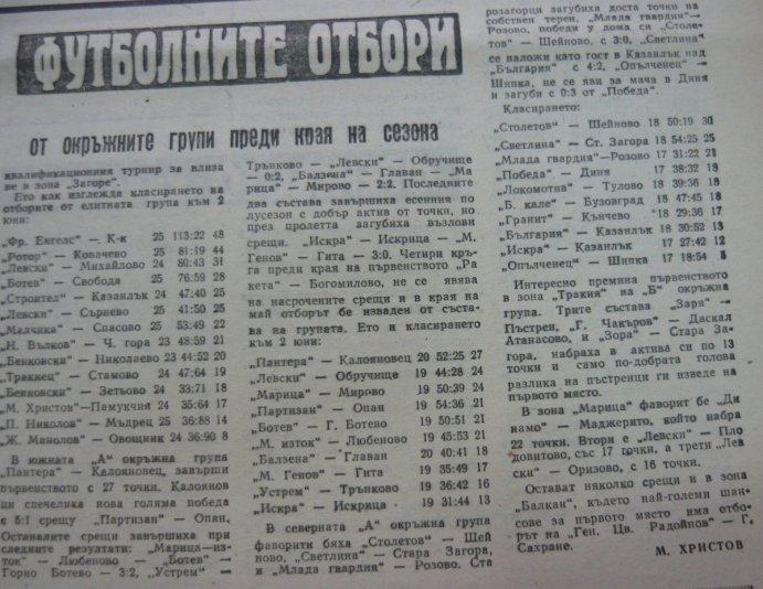 1969-70 - Зона Загоре