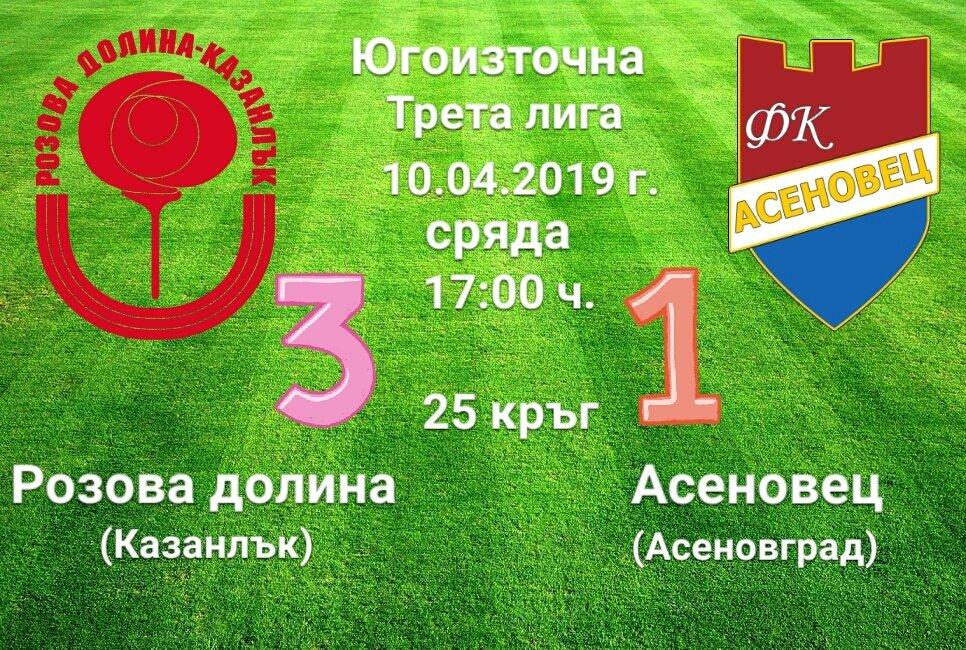 25 кръг: Розова долина (Казанлък) - Асеновец 2005 (Асеновград)