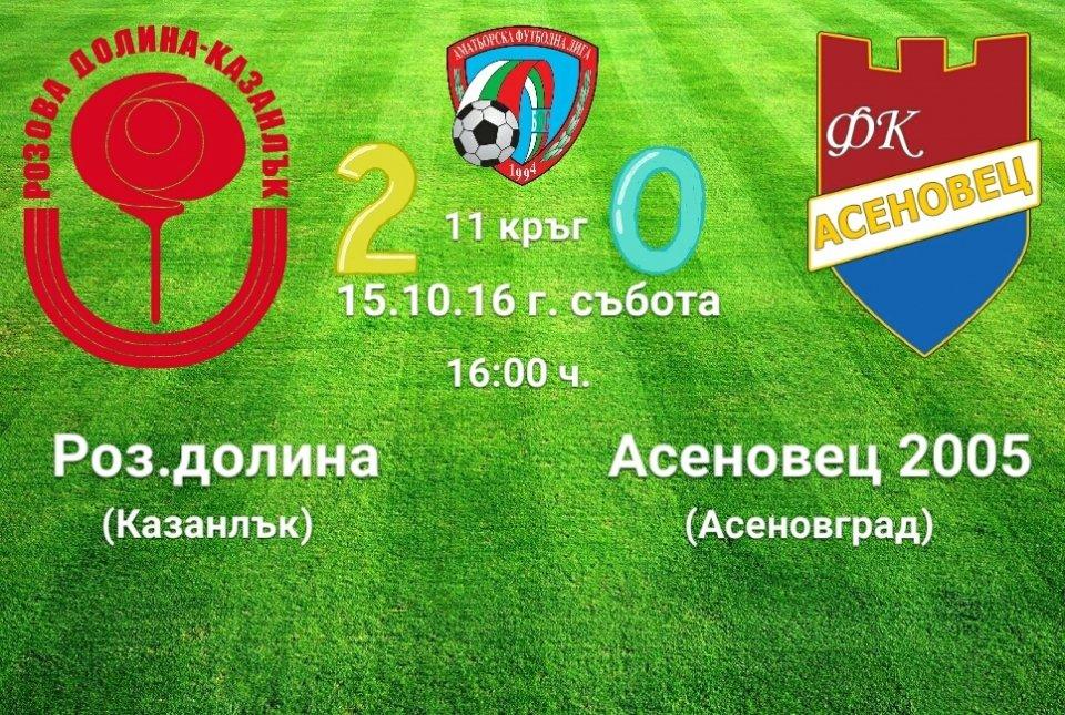 11 кръг - Розова долина (Казанлък) - Асеновец 2005 (Асеновград)