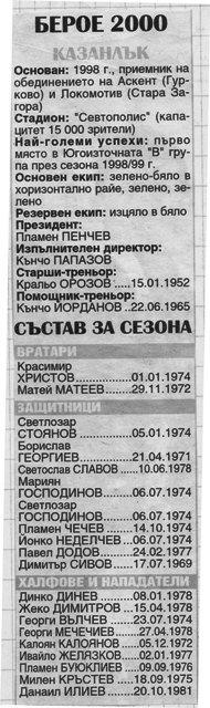 "1999-2000 - Югоизточна ""В"" група"