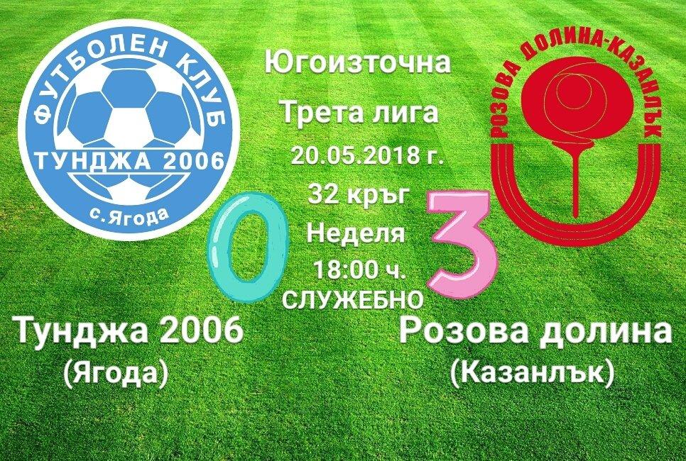 32 кръг: Тунджа 2006 (Ягода) - Розова долина - 0:3