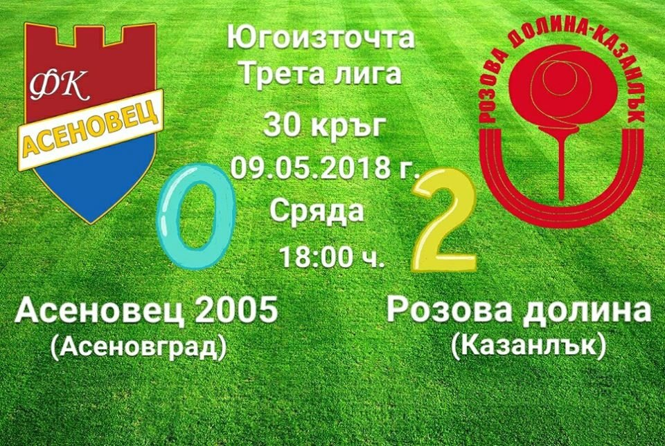 30 кръг: Асеновец 2005 (Асеновград) - Розова долина